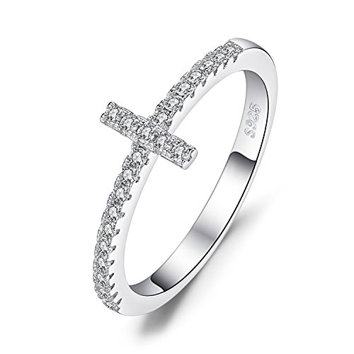 JewelryPalace 925 Sterling Silver Cubic Zirconia Sideways Cross Ring Size 7 Cross 925 Silver Ring
