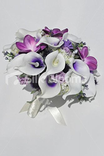 Gorgeous-Unique-Artificial-Purple-Frangipani-and-Picasso-Lily-Bridal-Bouquet-with-Lilac-Roses-and-Thistles