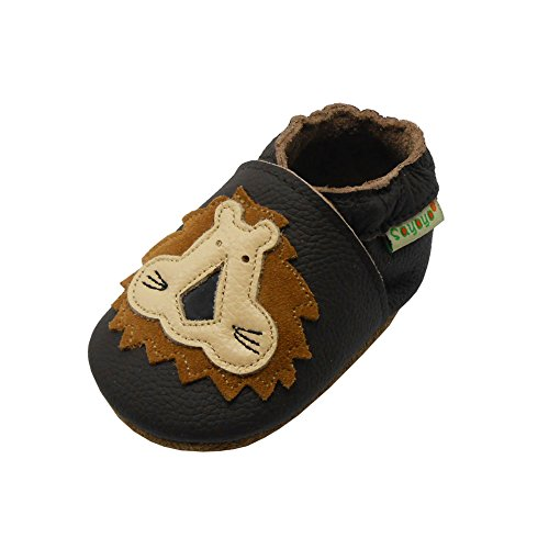 Sayoyo Baby Lion Soft Sole Brown Leather Infant and Toddler Shoes 0-6months