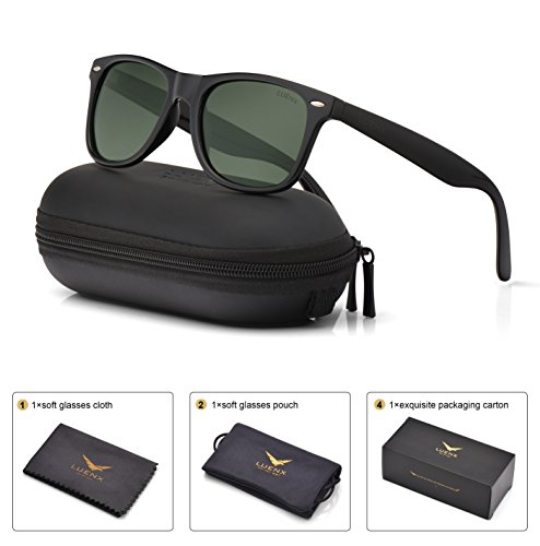 7353fb7334d8 Mens Polarized Sunglasses for Womens UV 400 Protection Grey Green Lens  Glossy Black Frame 54MM