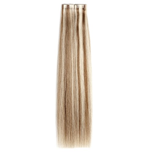 Ty.Hermenlisa 20″ Straight Tape in Hair Extensions 100% Natural Smooth Remy Human Hair Seamless Skin Weft, 20pcs/Pack, 45g,Dark Brown Light Ash Blonde(#P6G.9G)