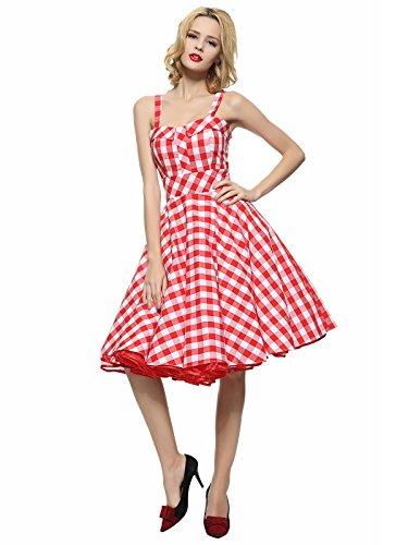 Tang Rosso Delle Annata Maggie Donne Rockabilly Vestito 1950 Assegno qCTA1A