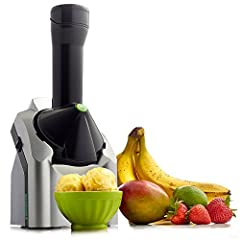 Yonanas turns frozen fruit and other flavorings into a delicious, healthy soft-serve treat. The unit combines frozen bananas and any additional fruit or chocolate and instantly churns the ingredients to produce a treat with the texture of fro...