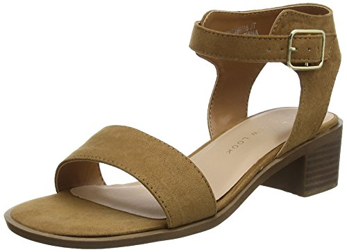 Foot Beige New Femme Look Pambo Ouvert Wide 18 Tan Bout Sandales 7FEP4