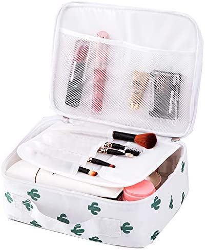 Travel Makeup Bag Large Cosmetic bag Portable Brushes Case Toiletry Bag Travel Kit Organizer Cosmetic case (A-White Cactus)