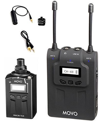 Movo WMIC80 UHF Wireless Handheld Microphone System with Plug-in XLR Transmitter, Portable Receiver, Shoe Mount for DSLR Cameras (330