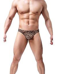 Mens Sexy Briefs Leopard Print Low Waist Bamboo Thong G-String Underwear Pants