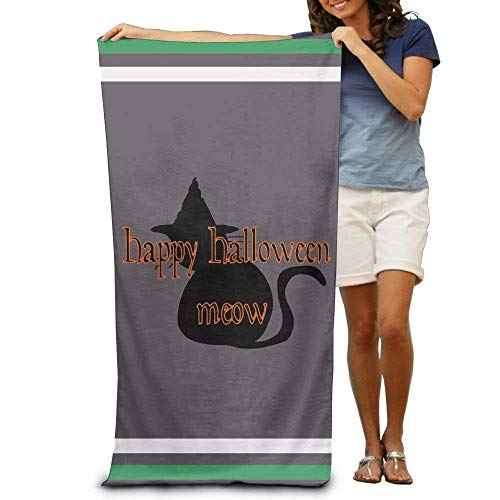 (Bath Towel Microfiber BAGT, Halloween Meow Adults Cotton Beach Towel 31