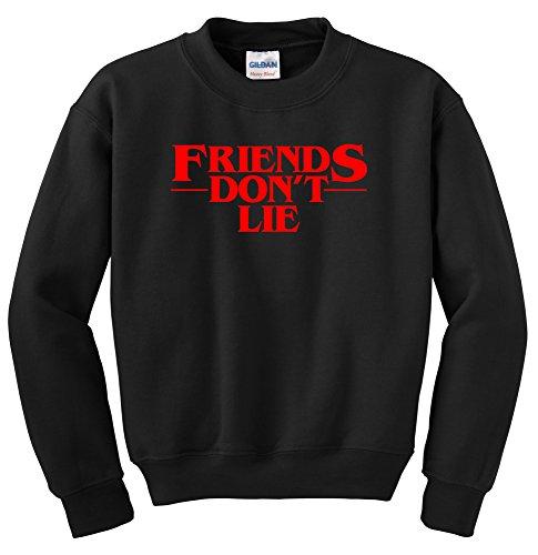 NuffSaid Strange Friends Don't Lie Crescent Premium Crewneck Sweatshirt Pullover Sweater Jumper - Unisex (XLarge, Black w/Red - Ink Pullover