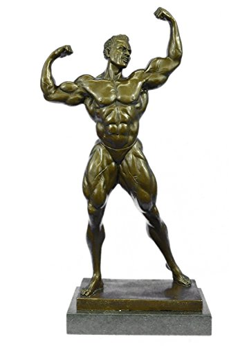 EUROPEAN BRONZE Gorgeous Abstract Bronze Muscle Man Flexing Sculpture Nude Male Fitness Model Muscular