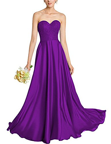 Elegant Dressylady Bridesmaid Satin Purple Lace Sweethart Prom Line Gown A Dress Long pTrqwTd