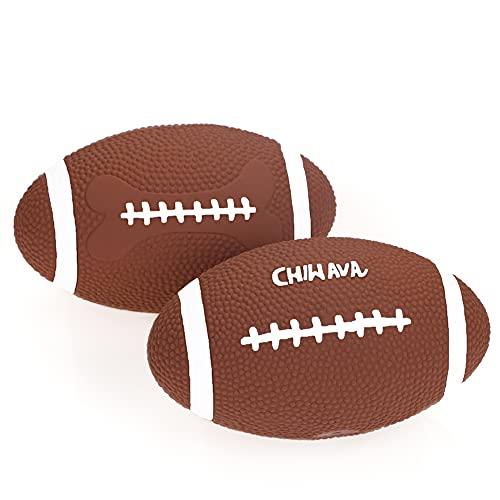 Chiwava 2 stück 6 Zoll Quietschen Latex Hundespielzeug Ball Fußball Rugby Holen interaktives Spielzeug für mittlere groß…
