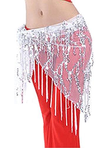 Silver Coins Belly Dance Waist Costume Belt Chiffon Dangling Belly Dance Sequins Hip Scarf (Sheer Dance Belly Coin)