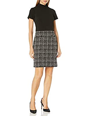 Karl Lagerfeld Paris Women's Mock Neck Sheath Dress with Houndstooth Skirt