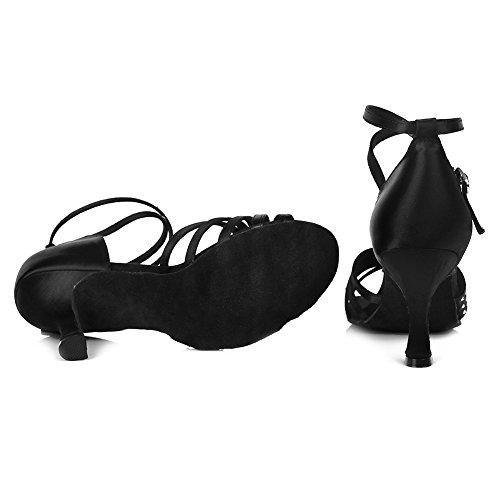 La Danza Zapatos Mujeres Baile El zapatos Hipposeus De Baile Imitación Satén Salón modelo Con Diamante zapatos Negro Esaf420 Latinos tqdtEx