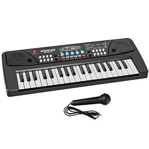 Kids Keyboard Piano, 37 Key Portable Music Piano Keyboard, Electronic Musical Instrument with Microphone for Kids Early Learning Music Educational Toy Birthday Christmas Day Gifts for Kids