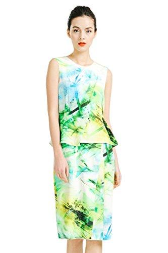 VOA Women's Green Floral Print Sleeveless Scoop Neck Silk Tent Pencil Midi Dress A6780 (Floral Sleeveless Dress Silk)