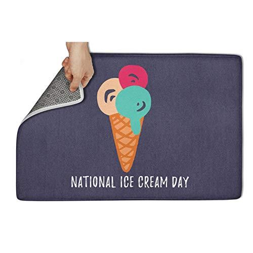 "CVBRLFDD National Ice Cream Day Celebration White Door Mat Floormat Non Slip Non-Slip Door Mat for Entrance Printted Waterproof Best Gym 31""x19"" Machine Washable Inside Mats"