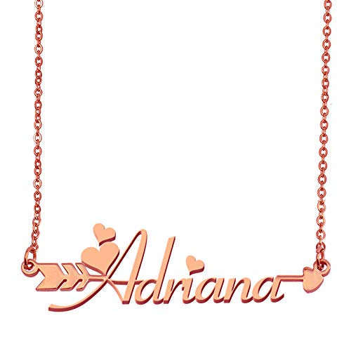 Aoloshow Customized Custom Name Necklace Personalized - Custom Adriana Initial Plated Handwriting Nameplate Necklace Gift for Womens Girls