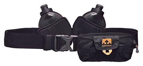 Nathan ns4529Switchblade ejecutando hydaration Pack Fitness Correr cinturón con Dos 12oz frascos, Negro, Talla única