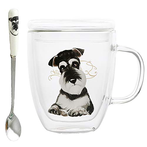 16.0-ounce French Bulldog Printed Blown Double-Layer Borosilicate Glass Coffee Mug Tea Cup with a Cap & Stainless Steel Spoon (16.0 ounce, Schnauzer Dog) ()