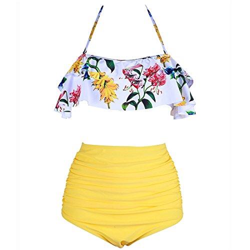 X-Fit Sports Women's Ruffle Flounce Top Print High Waist Bottom Bikini Swimsuits(Yellow,L)
