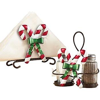 Collections Etc Christmas Kitchen Candy Cane Napkin Holder & Salt & Pepper Set