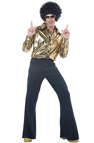 70's Halloween Outfits (California Costumes Men's Disco King-Adult Costume, Gold,)