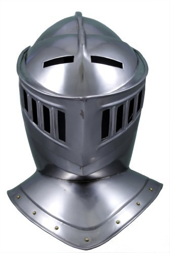 RedSkyTrader Mens Closed Knight Armor Helmet One Size Fits Most Metallic