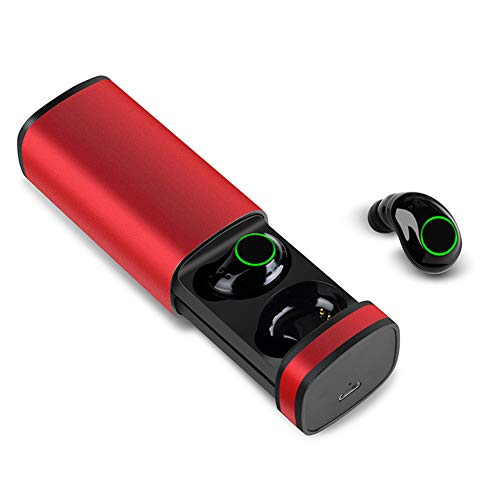 Mini Bluetooth Earbuds with Microphone,Bluetooth Headset 5.0 Stereo Hi-Fi Sound with 800mAH Charging Case,IPX5 Waterproof Wireless Earbuds Bluetooth for Apple iPhone Samsung Android Red