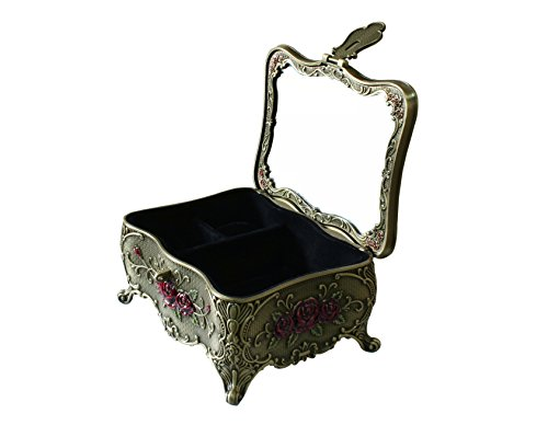 - Goddess Area Classic Vintage Antique Tin Rectangle Jewelry Box Treasure Storage Organizer Chest with Diamond Pattern (Bronze Butterfly)