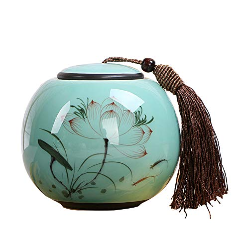 - Tea Storage Container with Airtight Lids Celadon Tea Caddy Ceramic Tea Storage Organizer Hand Painted Lotus Tea Box