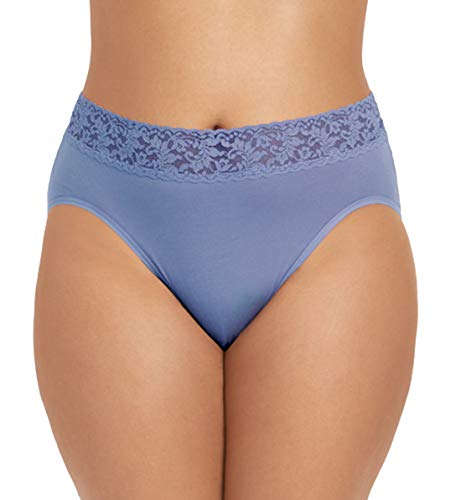Hanky Panky Organic Cotton French Brief with Lace Plus (892461X),1X,Washed Indigo