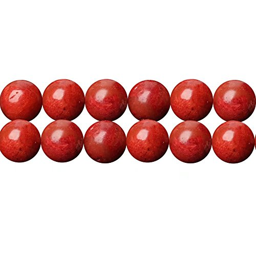 Red Sponge Coral Stone Round 6mm Beads for DIY Fashion Necklace Bracelet Earrings Jewelry Making One Strand 15 Inch Apx 60 (Red Coral Stone)