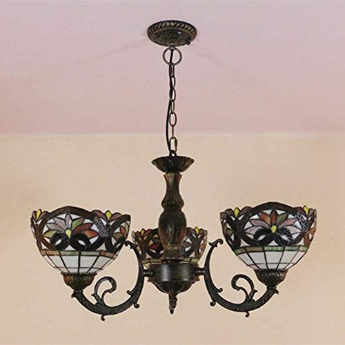 Tiffany Style Hanging Ceiling Lamp, European Pastoral 3 Head Stained Glass Pendant Light Fixture 8 Inches Lampshade, Chandelier for Living Room Bedroom Dining Room, E27,11