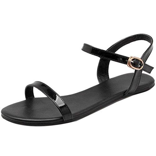 TAOFFEN Flat Open Strap Women Toe Fashion Black Sandals wqBrZpfw