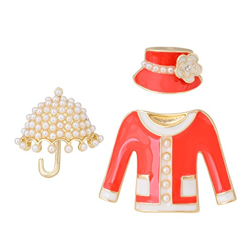 OBONNIE 3PCS Enamel Camellia Flower Hat Umbrella Suit Pearl Brooch Pin Collar Lapel Pin Bouquet Jewelry (Coral)