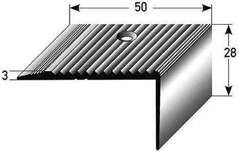 Perfil de escalera / Perfil angular (28 mm x 50 mm) de aluminio anodizado, perforado, bronce claro: Amazon.es: Hogar