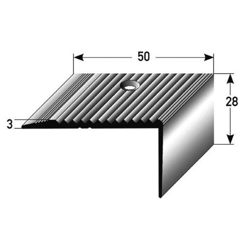 Perfil de escalera / Perfil angular (28 mm x 50 mm) de aluminio anodizado, perforado, bronce claro Auer