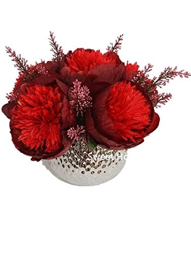 Sweet Home Deco Silk Peony Arrangement in Silver Ceramic Vase Table Flower Home Decor Wedding Centerpiece (Burgundy)