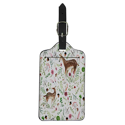 Tinmun Luggage Tag Colorful Cute Deer Mom and Baby Watercolor Forest Red Suitcase Baggage Label Travel Tag Labels (Acorns Deer Like Best)
