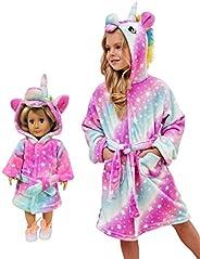 HulovoX Unicorn Bathrobe Matching Doll & Girls, Unicorn Gifts for G