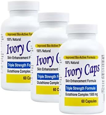 (3 Pack) Ivory Caps **Best Value**- Maximum Potency Glutathione 1500