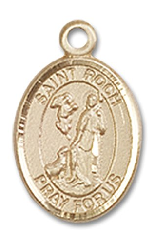 14 Karat Gold Saint Roch Medal Petite Charm Pendant, 1/2 (Roch Medal Charm Pendant)