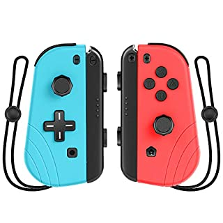 Wireless Controller for Nintendo Switch,Proslife Joy-con Replacement with Wrist Strap,L/R Remotes Gamepad Joystick for Switch Console-Red and Blue