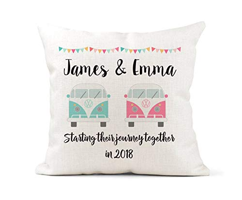 Personalised Cushion VW Camper, Campervan Wedding Gift,His & Hers, Mr and Mrs, Pink Blue Wedding, Anniversary Keepsake, new journey together