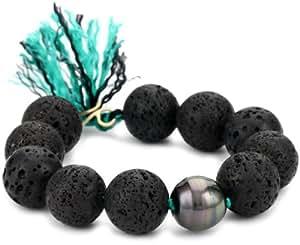 "Renee Garvey ""Ancients"" Lava, Tahitian Pearl, Ancient Agate Bracelet"