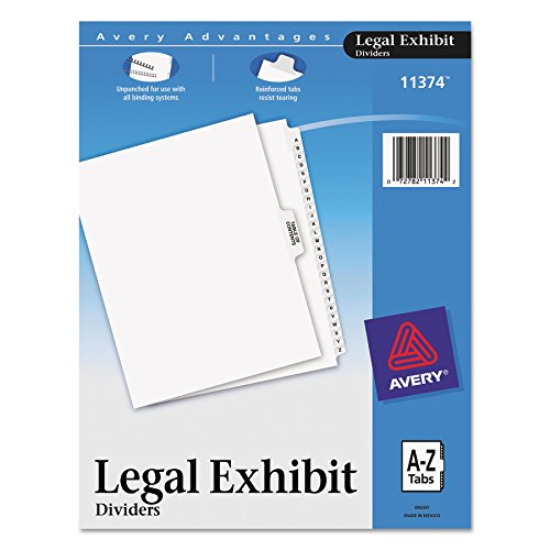Avery-Style Premium Collated Legal Index Exhibit Dividers, A-Z and Table of Contents, Side-Tab, 8.5 x 11-Inches, 1 Set (Contents Printed Tab Index Divider)