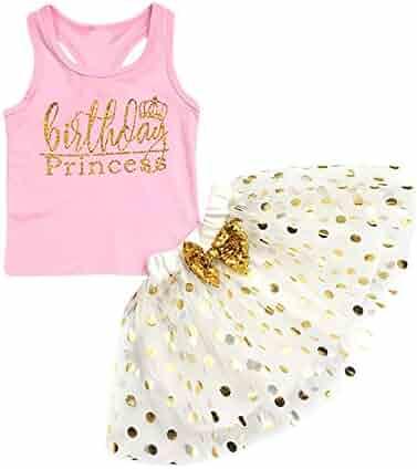 bbfcee130 Karoleda Toddler Baby Kids Girls Letter Print Sleeveless Two Pieces Vest+ Spot Bubble Skirt Set