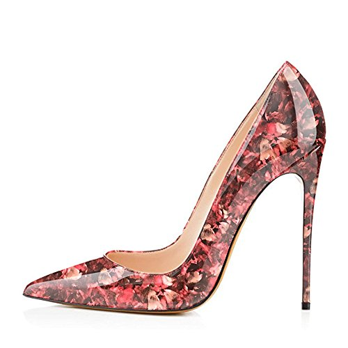 High Size Pointy Slip Red Stilettos Party Heels Large Flower Wedding Modemoven Shoes Pumps Women's Evening On Toe 4zqwxtnA